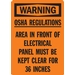 OSHA REGULATIONS AREA IN FRONT ELECTRICAL PANEL MUST BE KEPT CLEAR